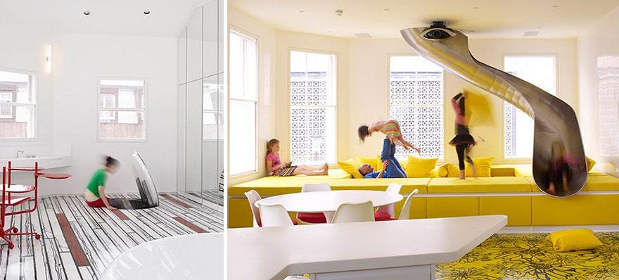 Dětský pokoj, který je přístupný po skluzavce z horního patra