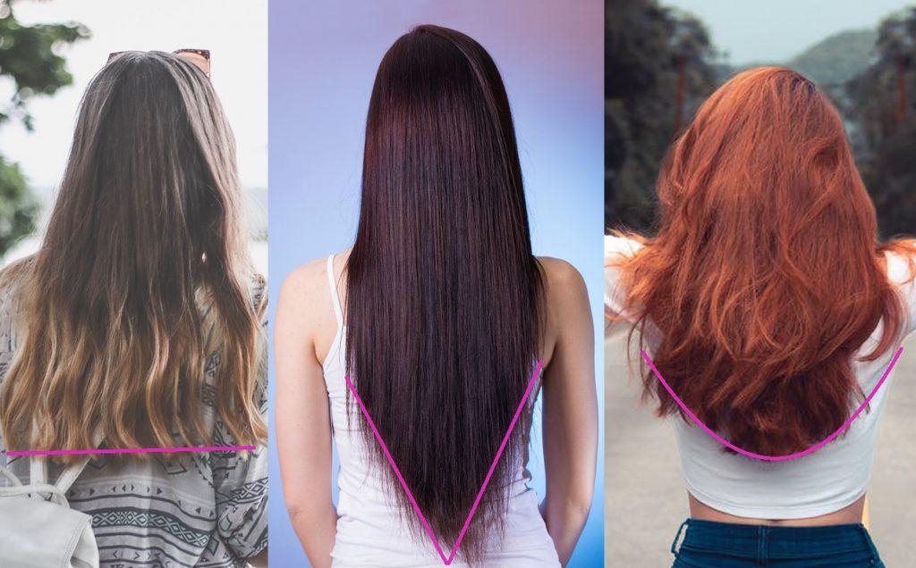 Střihy vlasů, rovný střih, střih do V, střih do U